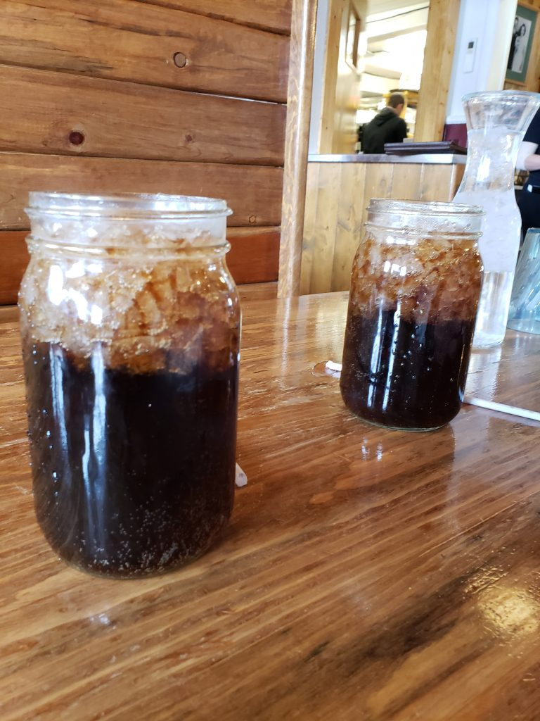 Mason jar cups with soda