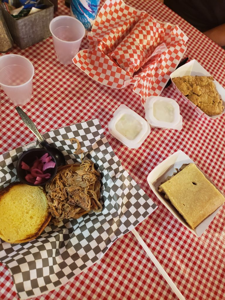 BBQ sandwich plates and apple pies