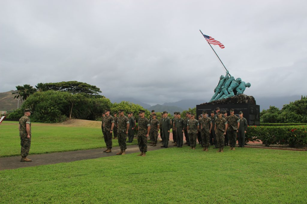 USMC promotion ceremony in front of an Iwo Jima Statue