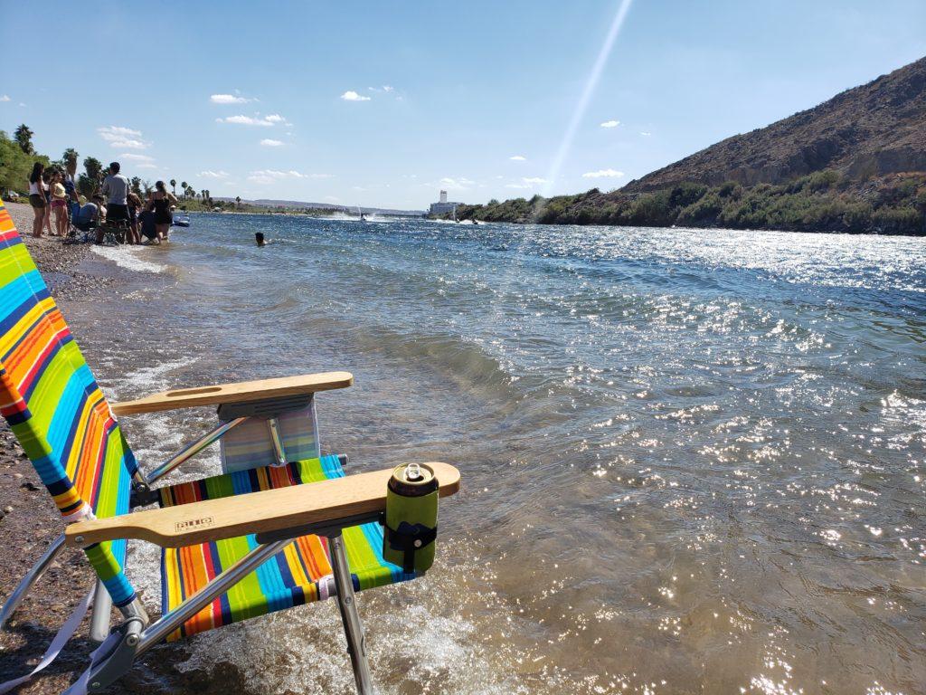 Beach chair on the river