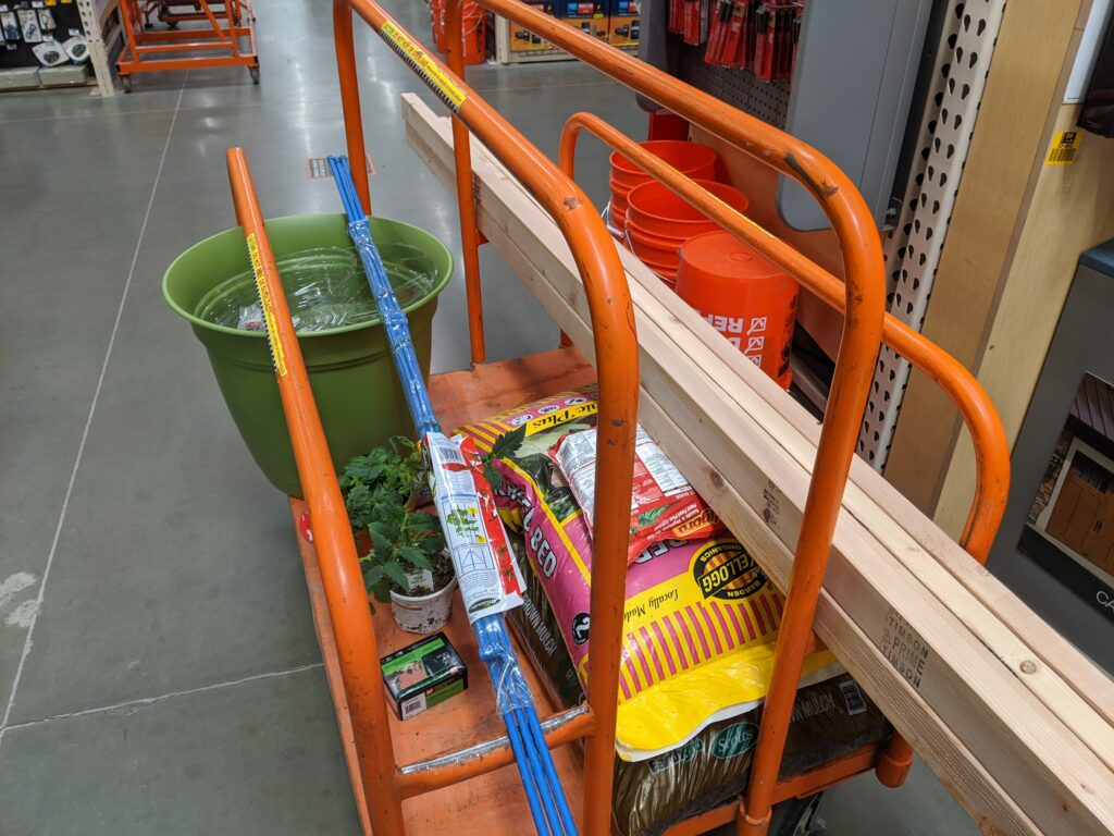 Home Depot cart filled with DIY items