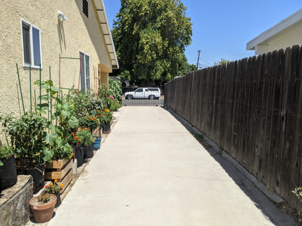Driveway with plants along the side of the house